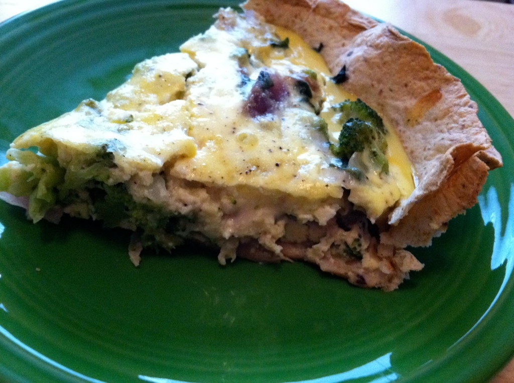 Easy Tortilla-Crusted Broccoli & Spinach Quiche + My First Race of 2012