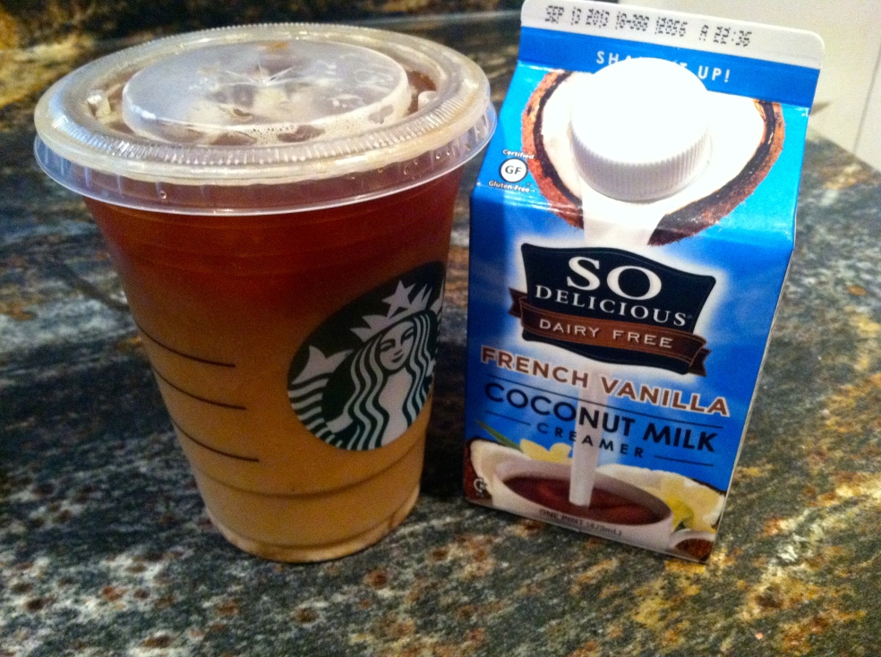 iced americano with coconut creamer