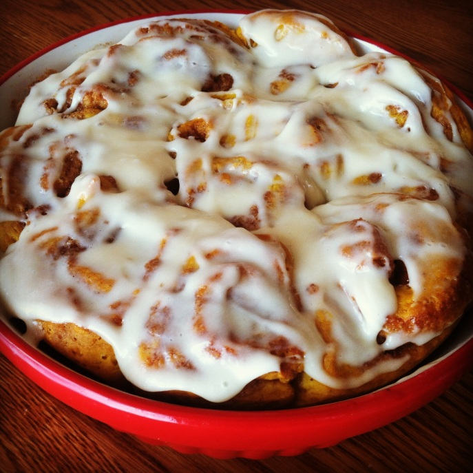 pumpkin cinnamon rolls maple cream cheese frosting