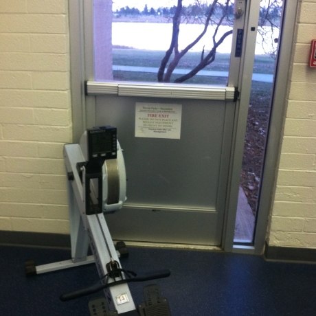 rowing machine in front of lake