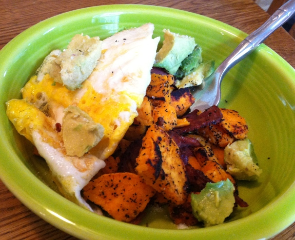 eggs sweet potatoes avocado bacon